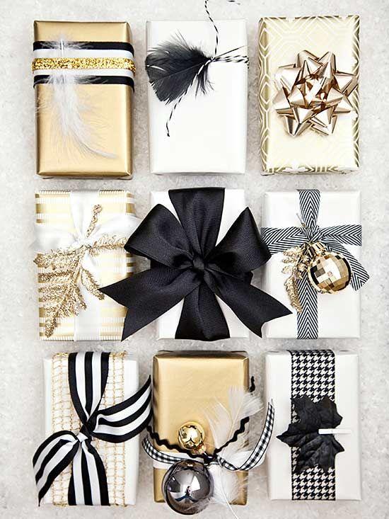 15 ไอเดีย ห่อของขวัญ สีขาวดำ